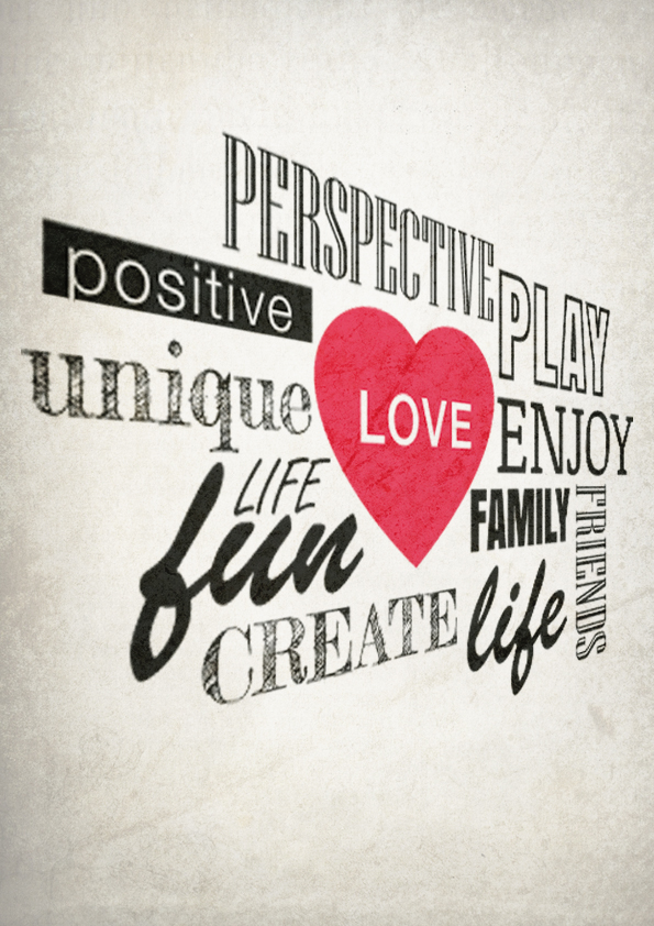 Inspirational words around heart